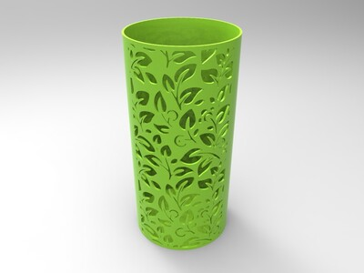 缕空花纹笔筒-圆形-3d打印模型