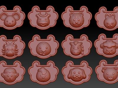 卡通十二生肖兽头-平安锁-长命锁-3d打印模型