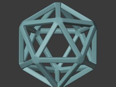 正三边形组成的棱角球-3d打印模型