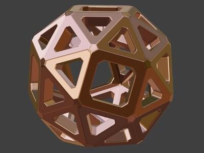 三角形与正方形组成的镂空球模型-3d打印模型