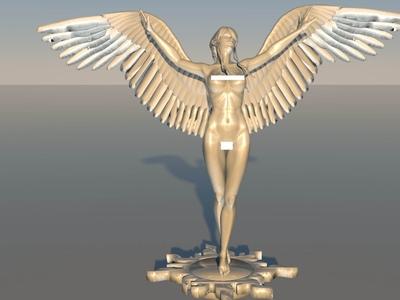 天使女神展翅人体模型(高精度版)-3d打印模型