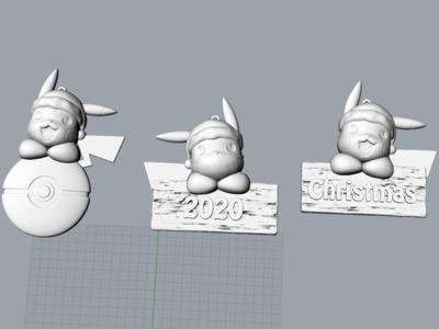 口袋妖怪-皮卡丘-牌匾-圣诞节-2020-口罩-3d打印模型